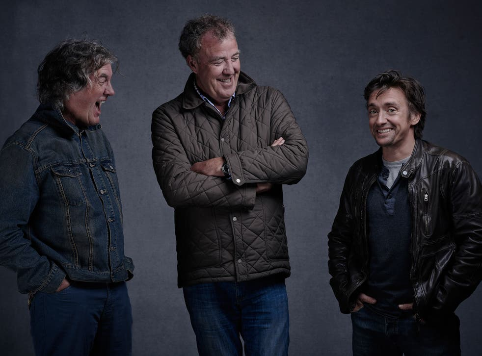 Former Top Gear hosts James May, Jeremy Clarkson and Richard Hammond