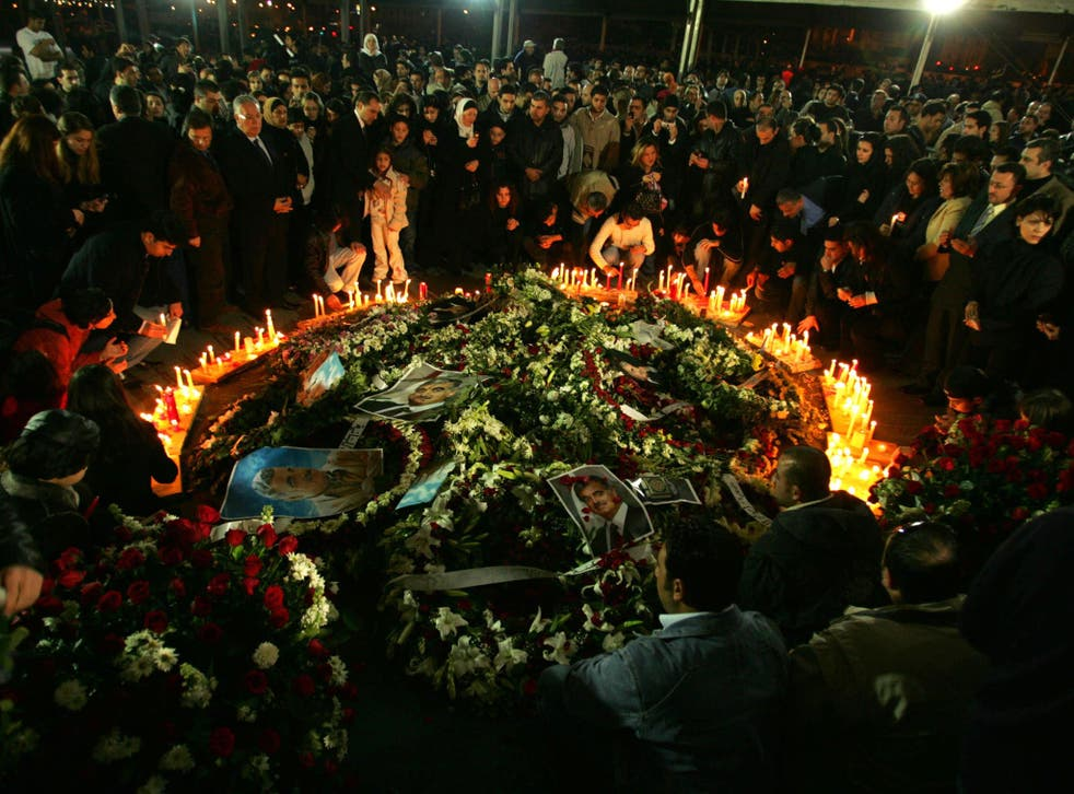 The grave of the murdered former Prime Minister Rafiq Hariri, killed by a car bomb in 2005, which attracted frenzied crowds