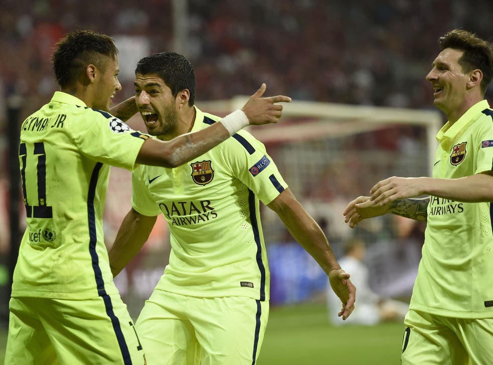 Luis Suarez (centre) and Lionel Messi (right) celebrate with Neymar after his opening goal