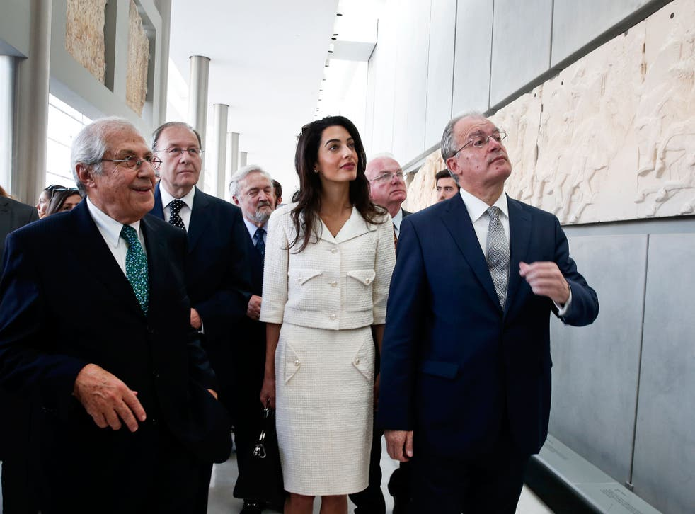 Amal Clooney at the Acropolis Museum in Athens as part of a team advising the Greek government on the return of the Elgin Marbles