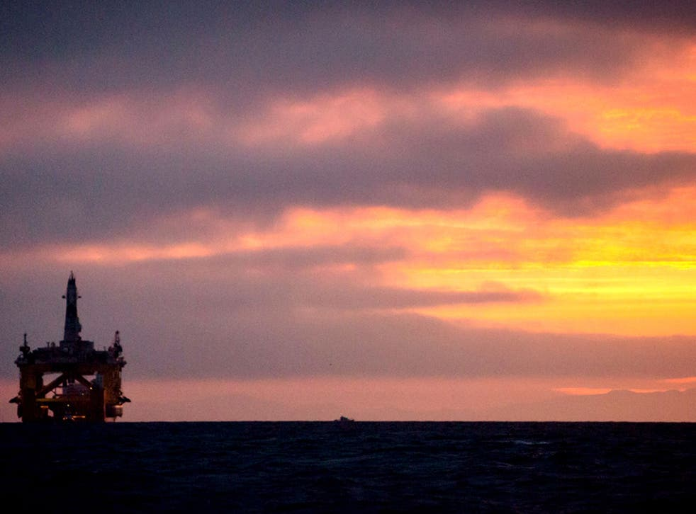 A drilling rig arrives in Port Angeles, Washington, last month, ready to be towed to the Arctic
