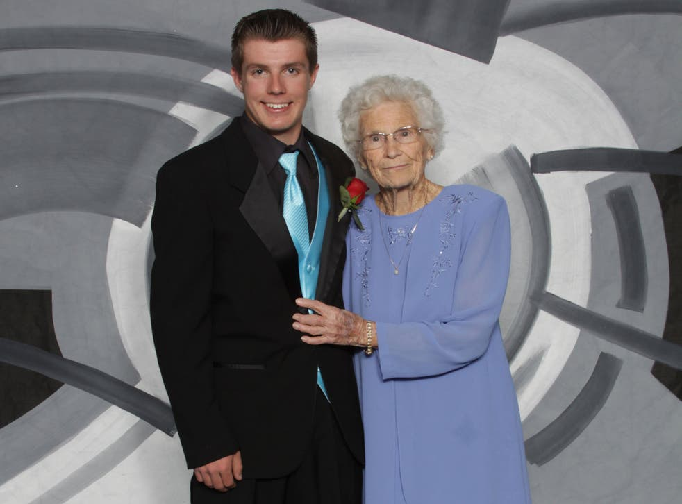 Drew Holm and his great-grandmother Katie Keith in their prom picture
