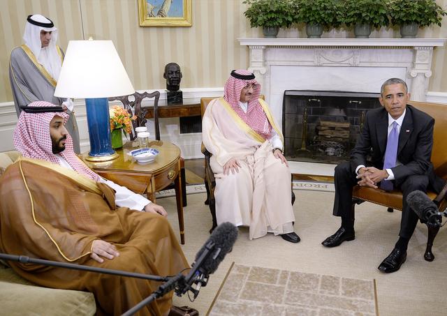 Barack Obama holds a meeting with Crown Prince Mohammed bin Nayef and Deputy Crown Prince Mohammed bin Salman of Saudi Arabia