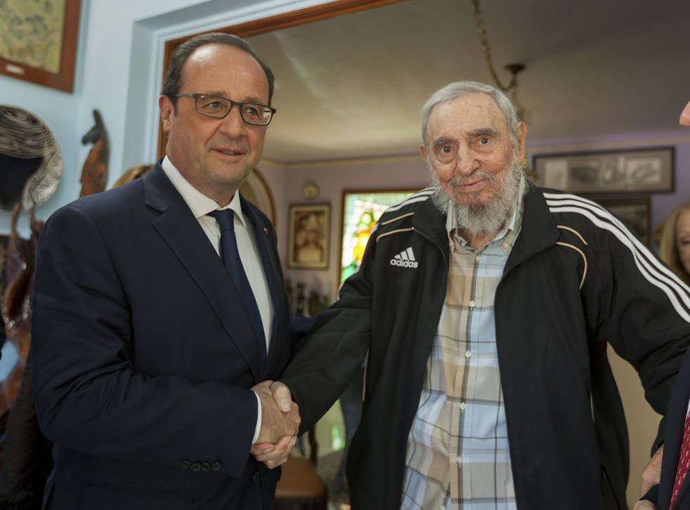 Francois Hollande meets 88-year-old Fidel Castro during the first French Presidential visit to Cuba for more than 100 years on 11 May, 2015
