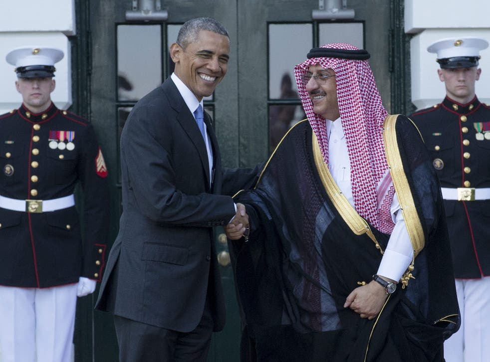 Barack Obama welcomes the Saudi Crown Prince Mohammed bin Nayef at the South Portico of the White House in Washington DC