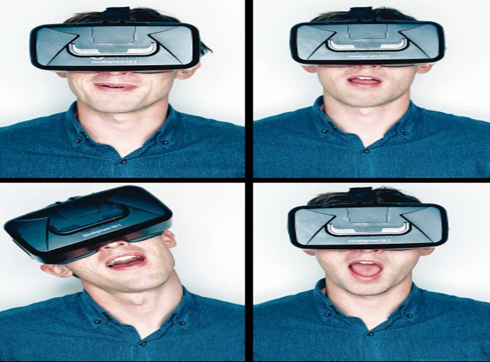 Oscar Quine wearing the Oculus Rift headset