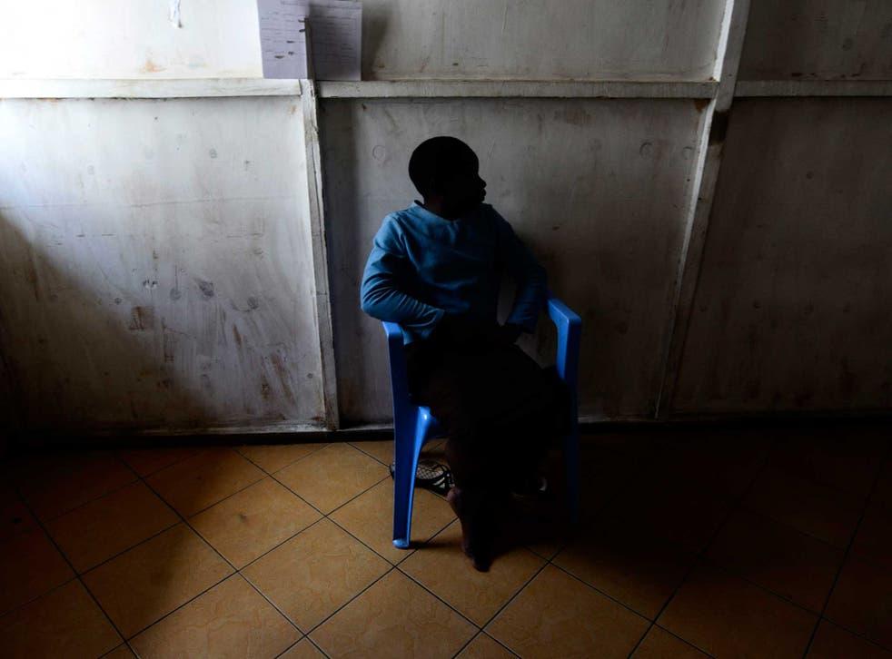 A rape victim pictured in a centre in 2012