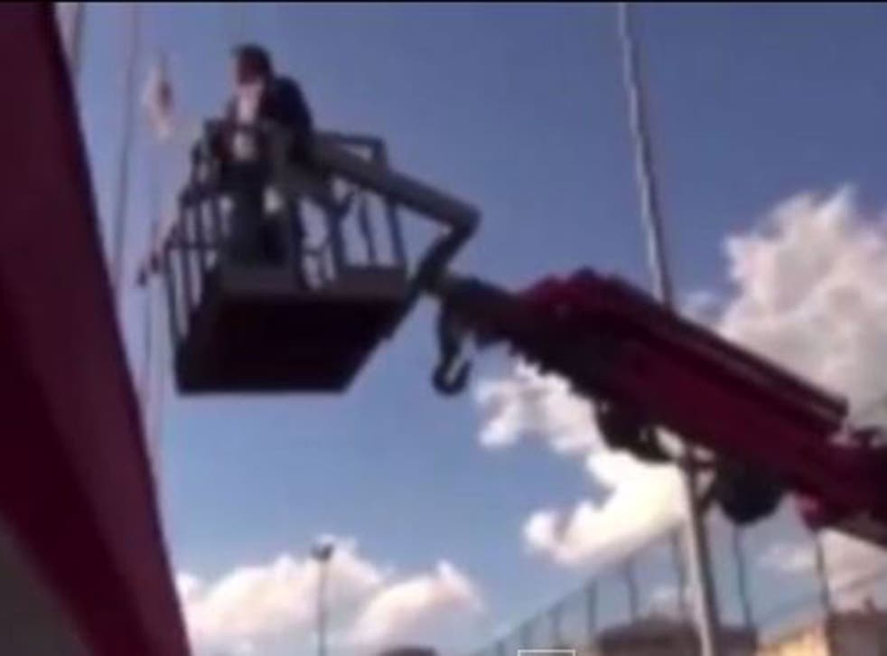Hamsik Isit used a crane to see a game he was banned from