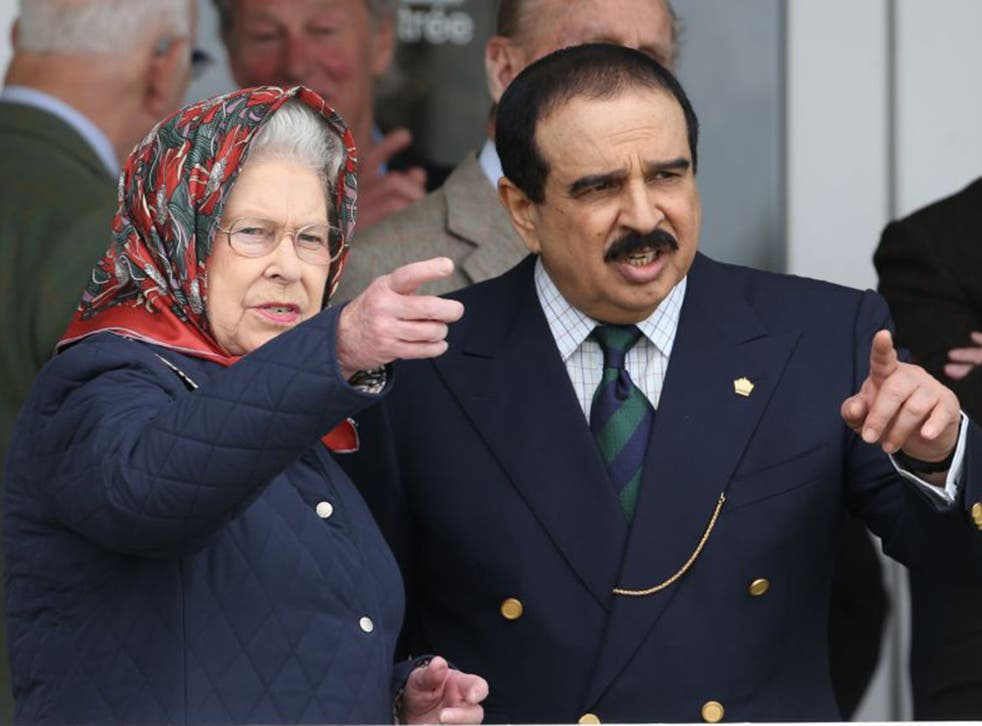 The Queen with King Hamad of Bahrain at the Royal Windsor Horse Show on Friday