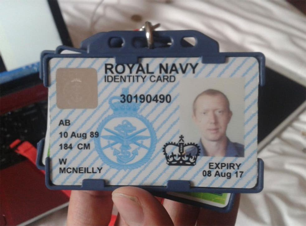 An image purporting to show Able seaman William McNeilly's Royal Navy ID card