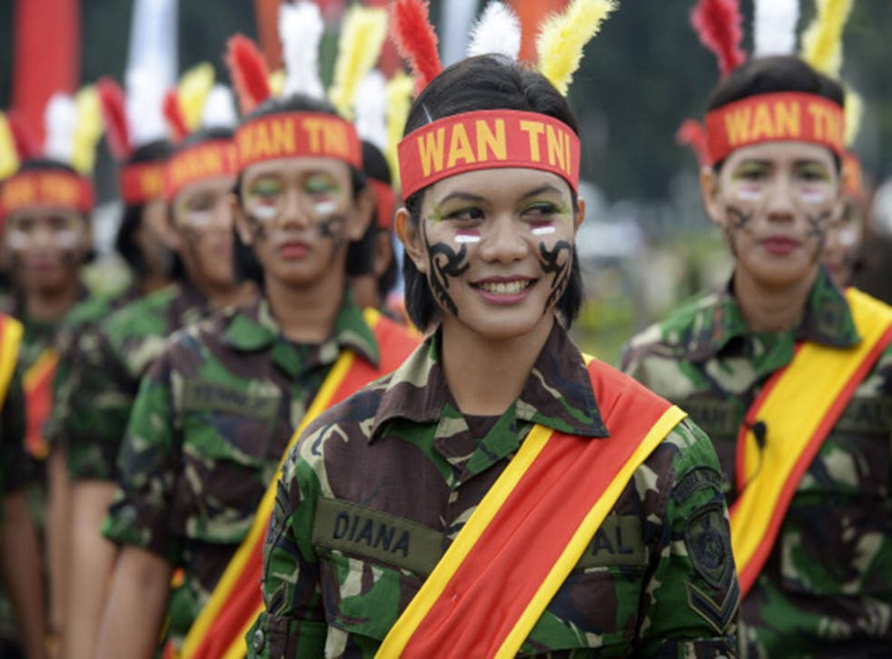 Female members of the Indonesian military
