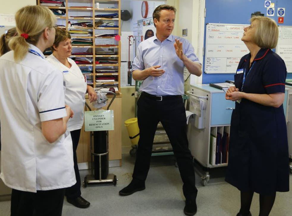 David Cameron has reiterated his pre-election promise to radically improve the NHS