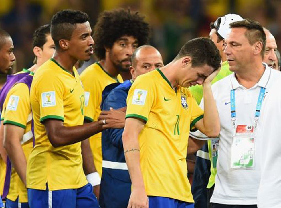 Oscar in tears after Brazil's 7-1 defeat to Germany in the World Cup semi-final last year