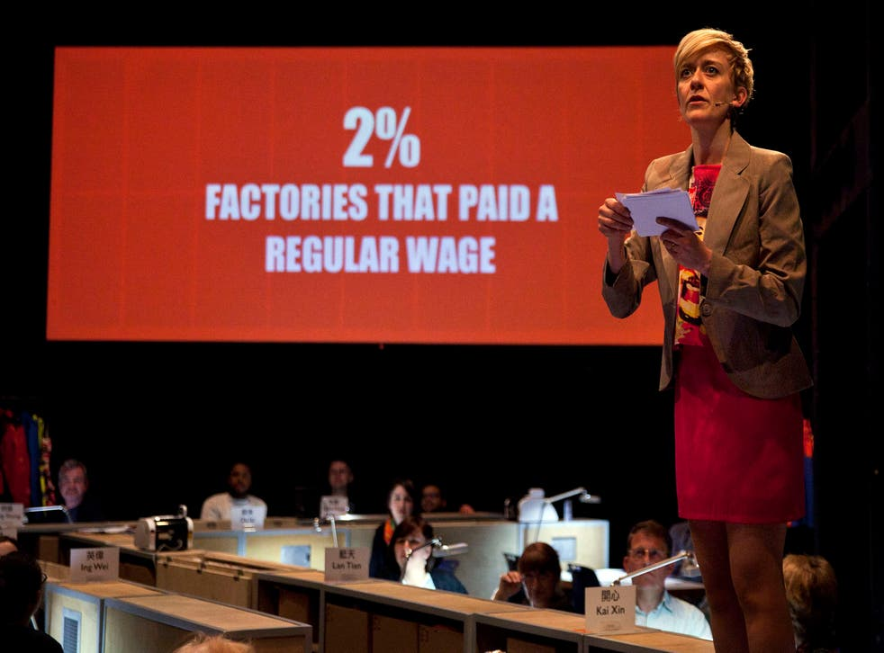 Lucy Ellinson in World Factory at the Young Vic