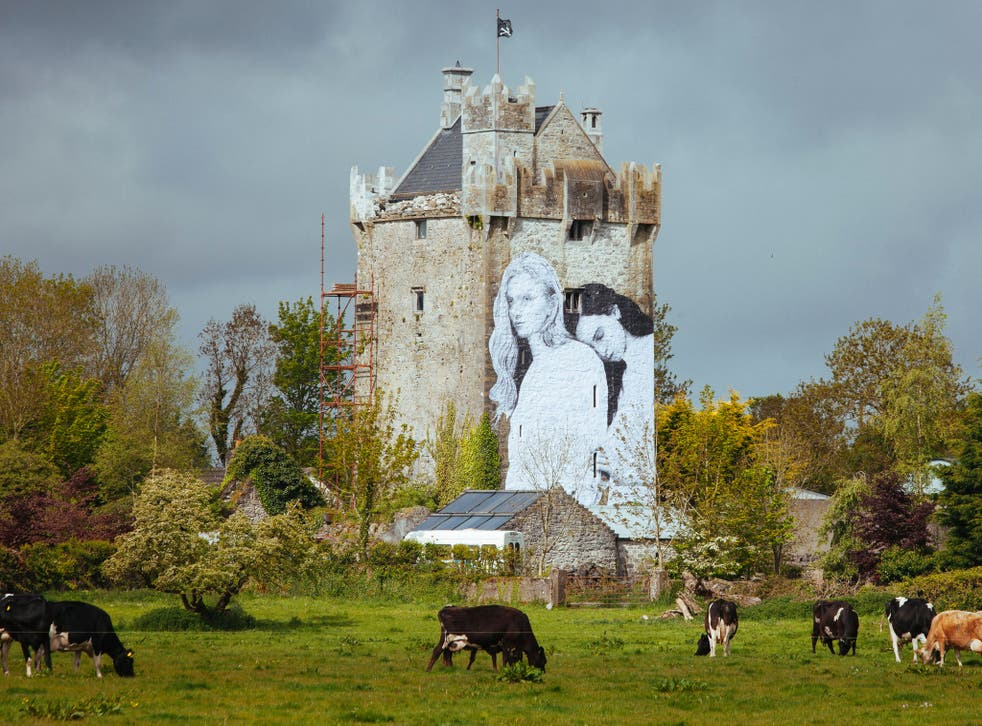 Joe Caslin's mural on a castle in County Galway was installed days before the referendum. Photo: David Sexton