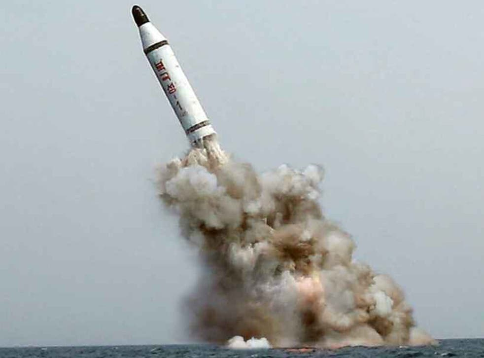 An image released by North Korea's Rodong Shinmun shows what Pyongyang claims to be a ballistic missile launched from a submarine, 9 May 2015