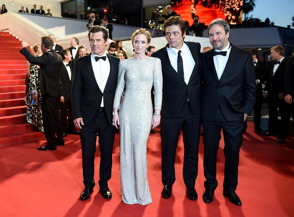 Josh Brolin, Emily Blunt, Benicio Del Toro and Denis Villeneuve arrive for the Sicario premiere at Cannes