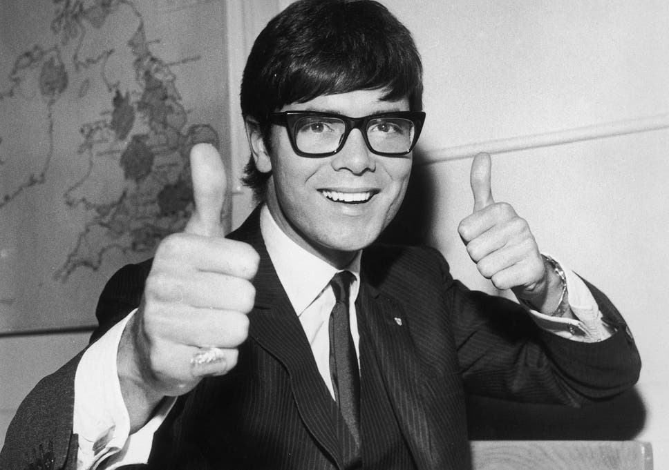 f74e12ec212d1 Cliff Richard gives a thumbs up after finding out he will represent the UK  at the