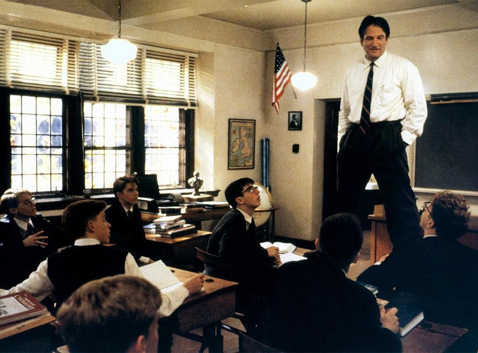 'Oh me! Oh life!': Robin Williams plays maverick teacher John Keating, who uses poetry to inspire his students to follow their dreams