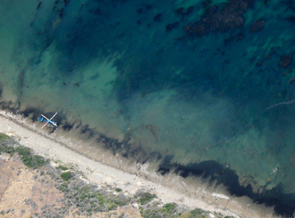 <p>An oil spill moves along the Santa Barbara coastline</p>