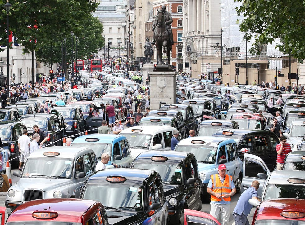 Black cab and licensed taxi drivers protested at Trafalgar Square in June last year over the launch of the phone app Uber