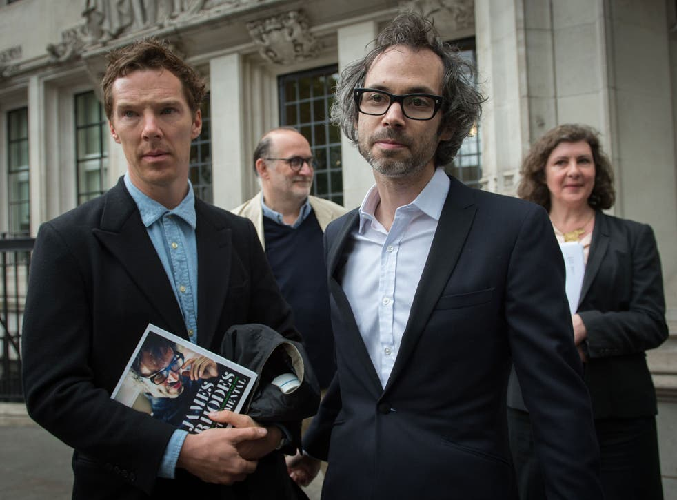 Supporting role: at the Supreme Court, Rhodes was accompanied by a famous friend, the actor Benedict Cumberbatch (PA)