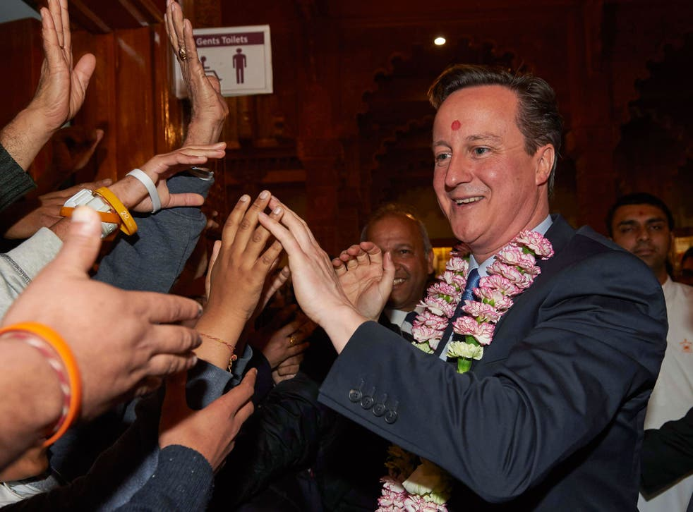 David Cameron vists Neasden Hindu Temple a few days before the election - Hindu voters mostly backed the Conservatives, with 49 percent of them voting Tory, compared to only 41 per cent for Labour.