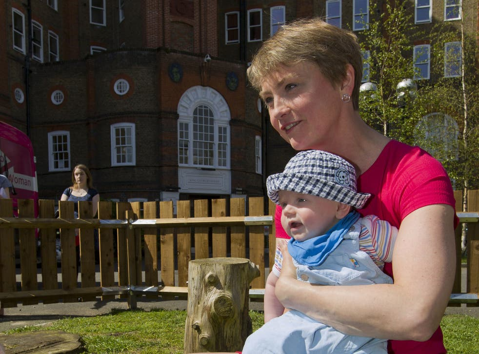 Yvette Cooper campaigning in London at the launch of Labour's women's manifesto