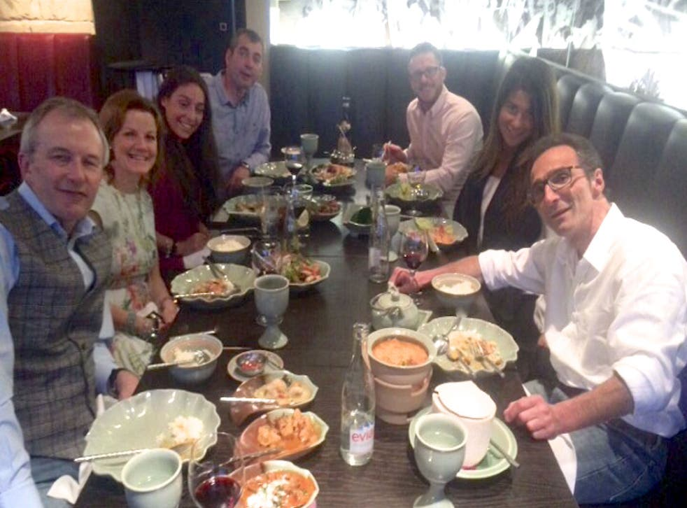 Jeffrey Spector (front right), at his final meal in Switzerland surrounded by friends and family