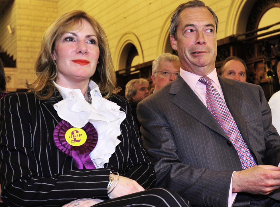 Janice Atkinson pictured with Ukip leader Nigel Farage last year