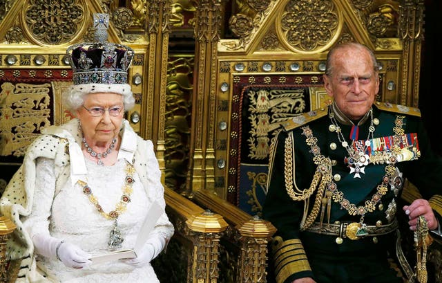 Queen Elizabeth delivers the Queen's Speech next to Prince Phillip during the State Opening of Parliament in the Palace of Westminster in London