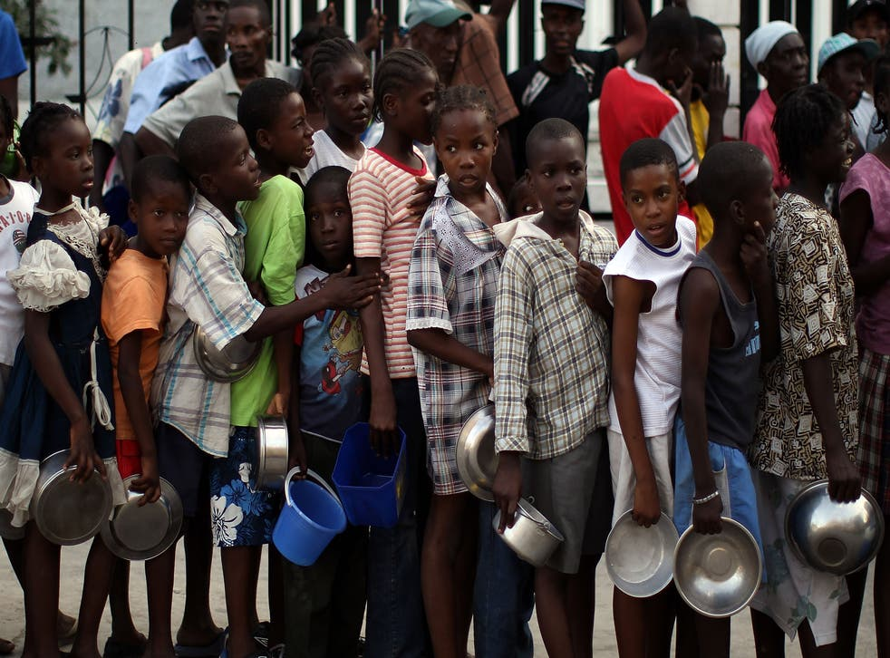 Children gather for food distribution in Haiti's capital city Port-au-Prince