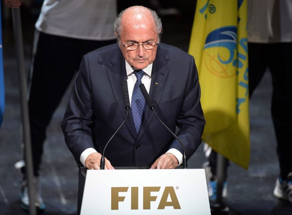 FIFA President Joseph Blatter makes his first public appearance since the corruption scandal erupted