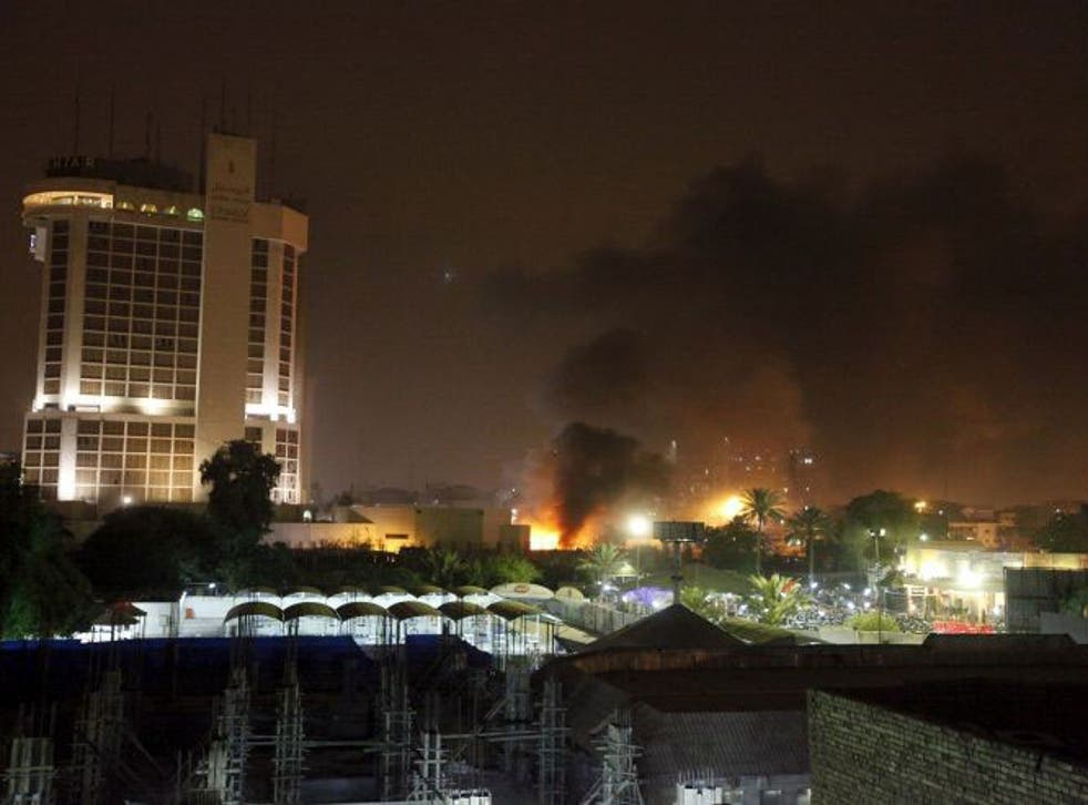 The bombs hit the car parks of two luxury hotels