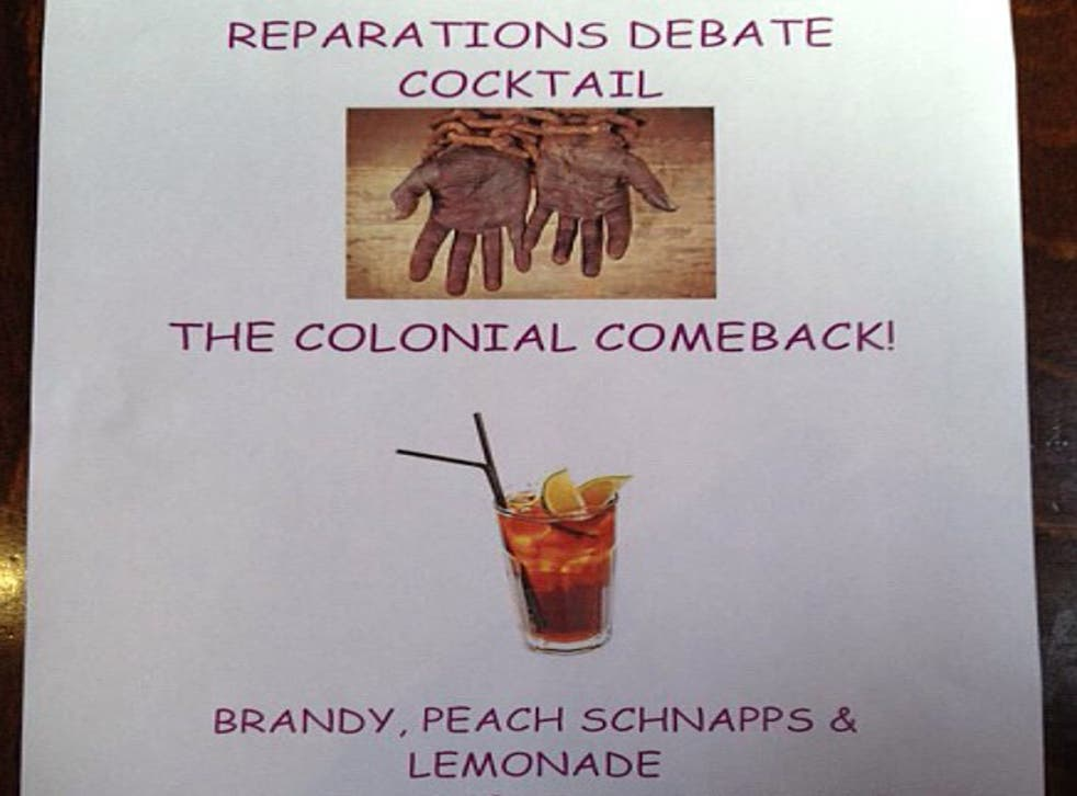 Menu offered at The Oxford Union featuring 'The Colonial Comeback' cocktail and a pair of hands in chains (Photo by Adam Cooper)