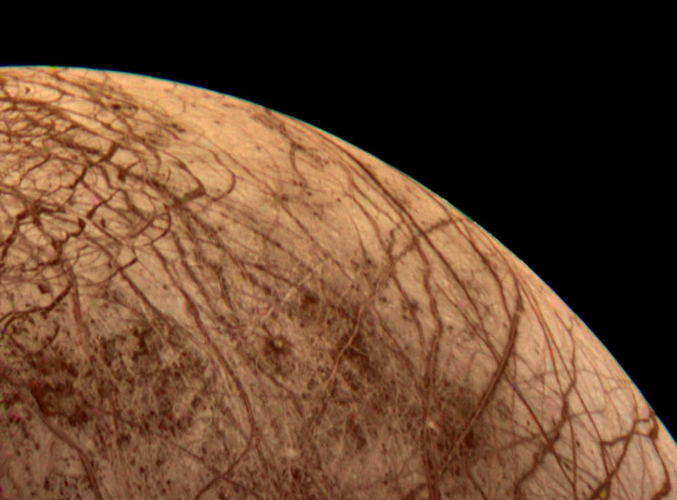 The Jovian moon of Europa seen by Voyager 2 during its close encounter on Monday morning, 9 July, 1979.