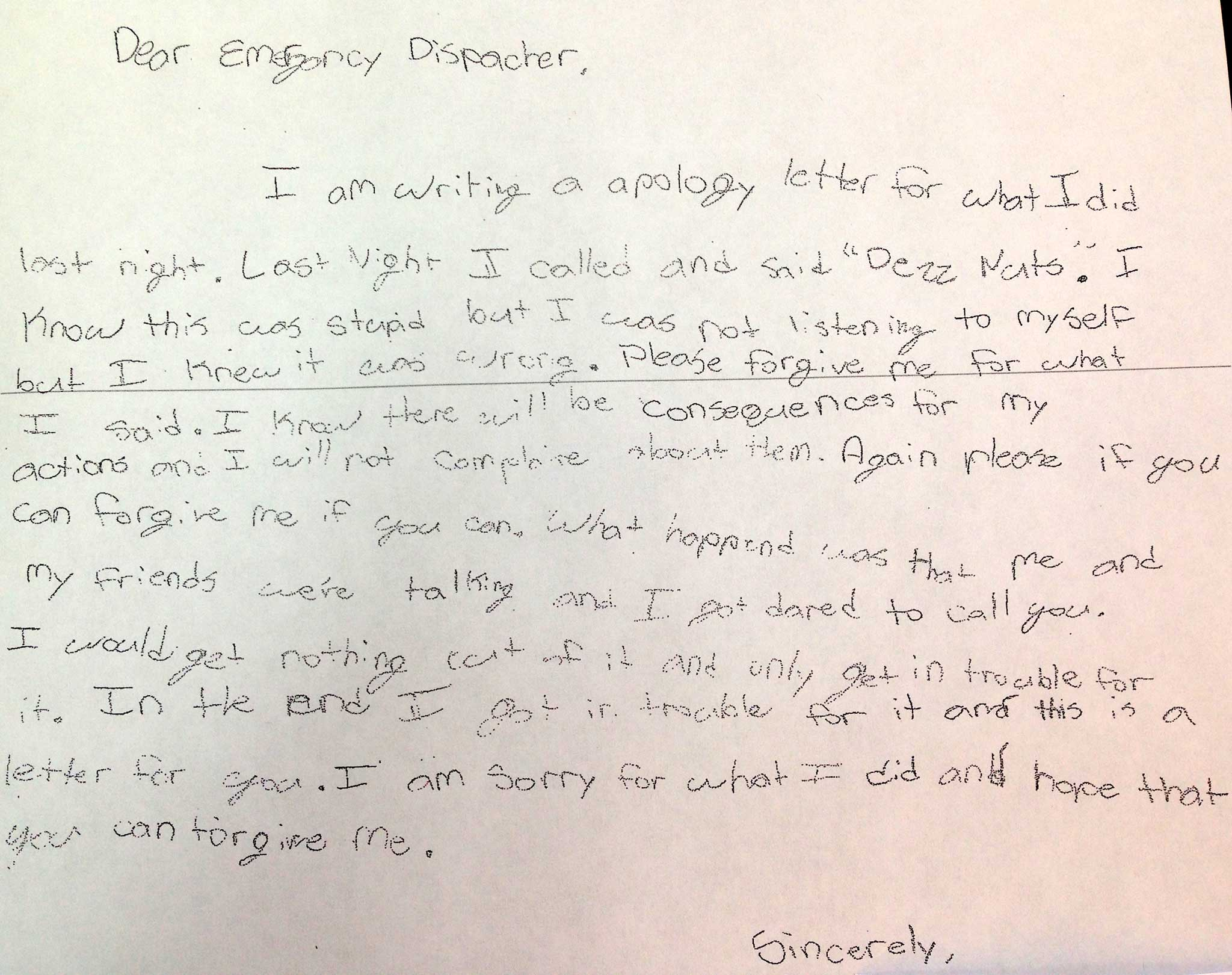 US child writes apology letter to operaters after ringing