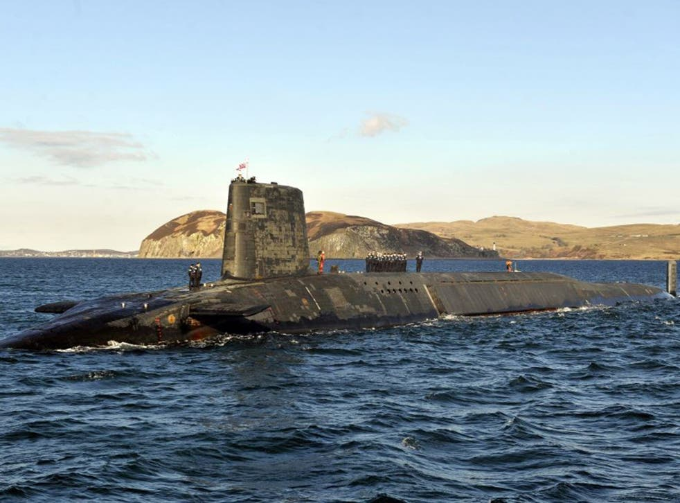 Trident nuclear submarine HMS Victorious patrolling off the coast of Scotland.