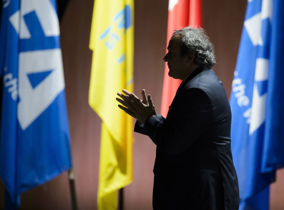 Michel Platini, the Uefa president, pictured in silhouette at the 65th FIFA Congress in Zurich