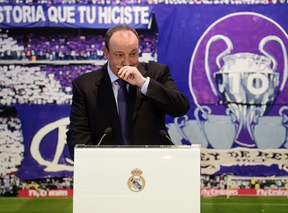Rafa Benitez pictured at his unveiling as Real Madrid manager