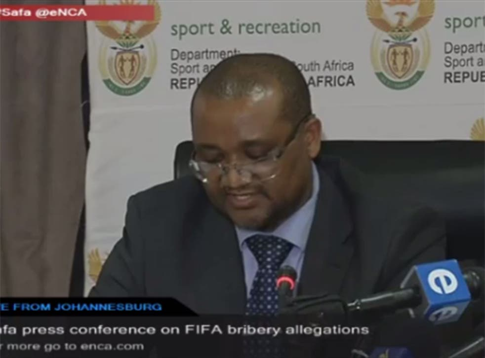South Africa's sports ministry director general Alec Moemi speaks at a press conference, 3 June 2015