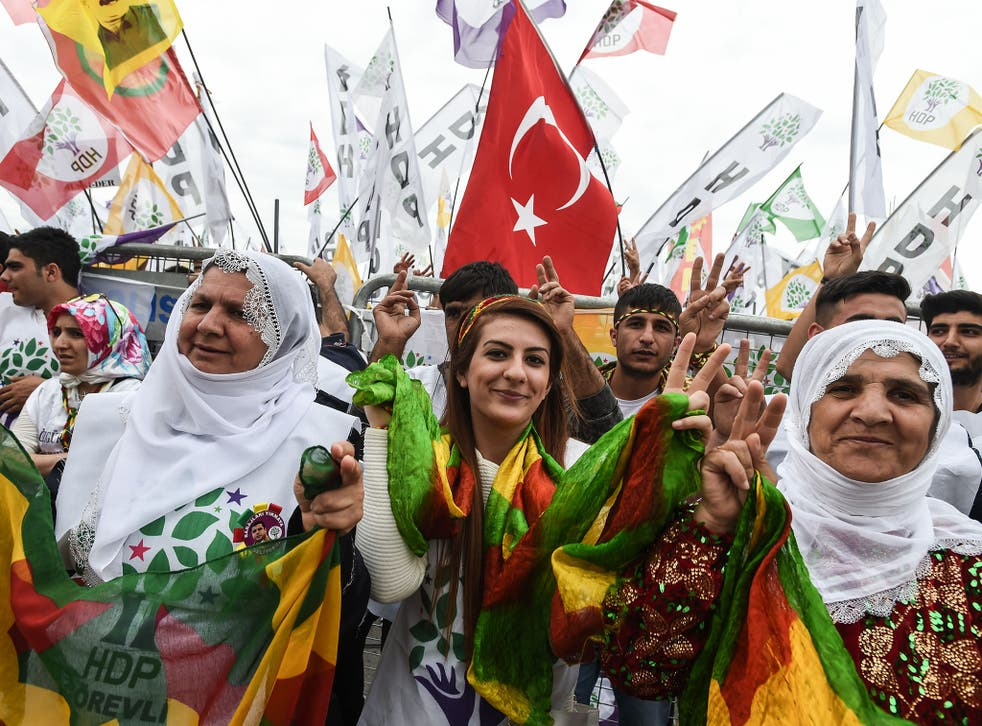 Supporters of the pro-Kurdish People's Democratic Party cheer and wave flags during a rally ahead of the general election
