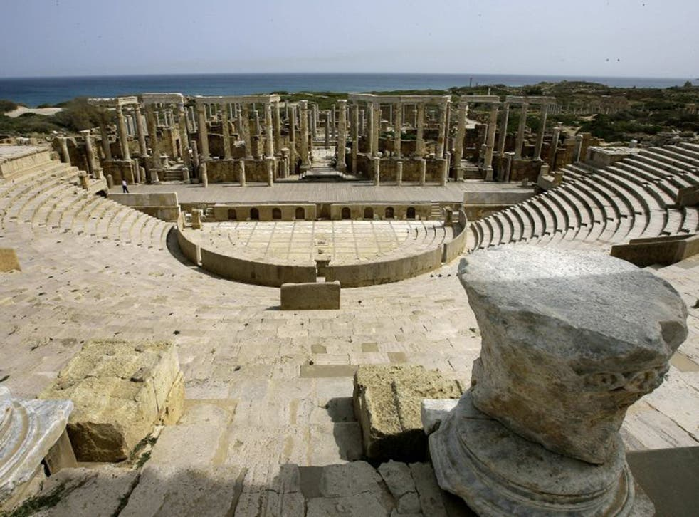 The amphitheatre at Leptis Magna, a World Heritage site in the city of Lebda. The Roman ruins are among the most spectacular in the Mediterranean.