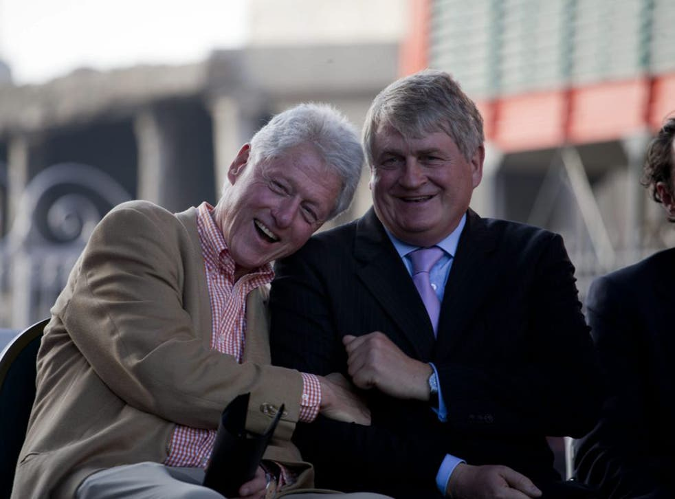 Denis O'Brien chats to former US President Bill Clinton in Haiti in 2011