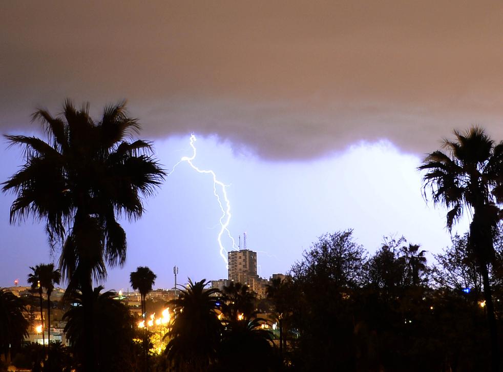 Lightning strikes over Rabat, the capital of Morocco