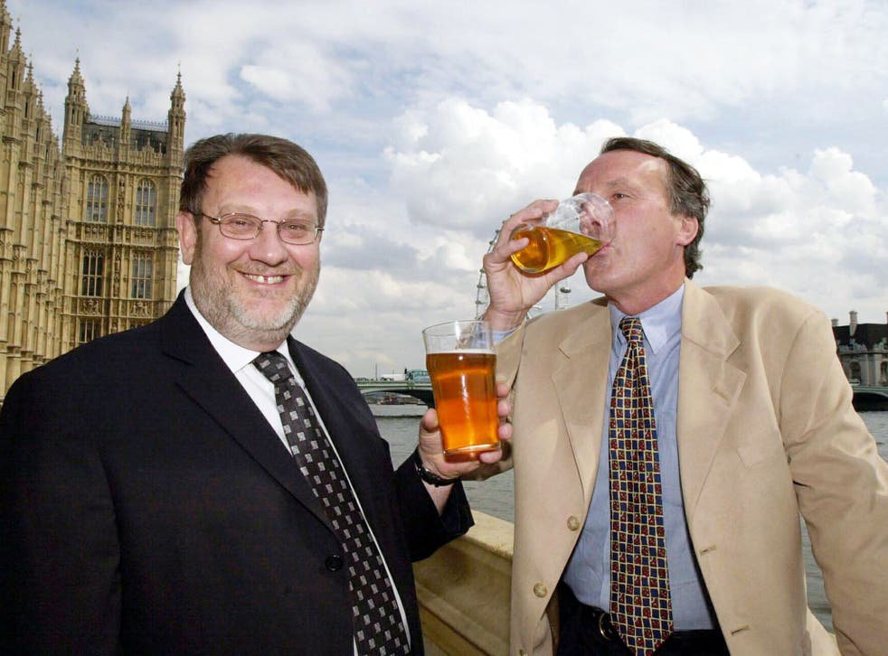 MP for Doncaster North Kevin Hughes (left) and Geoff Brown owner of Glentworth brewery enjoy a pint of Glentworth Brewery's Danum Goldon on the terrace at The House of Commons