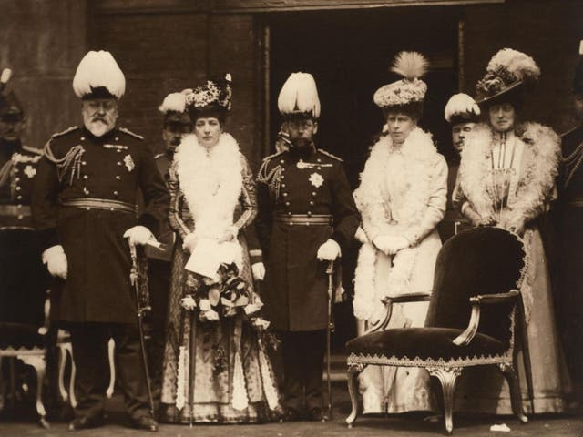King Edward VII, far left, and family in 1908