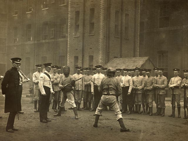 Bayonet practice at Chelsea Barracks 1911/12