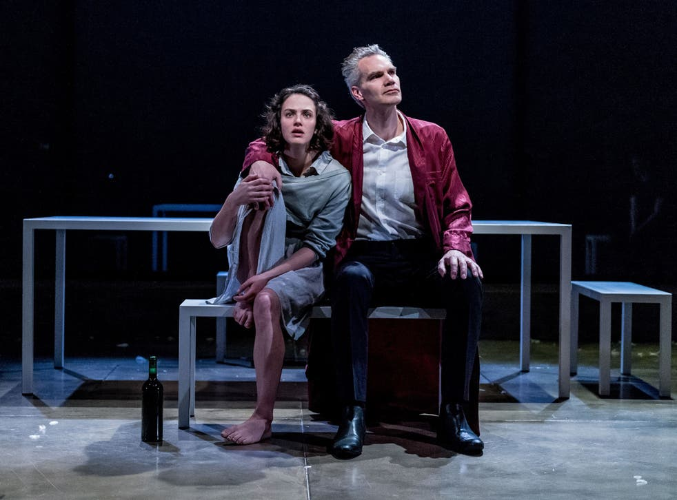 Jessica Brown Findlay and Angus Wright in Oresteia at the Almeida Theatre, London