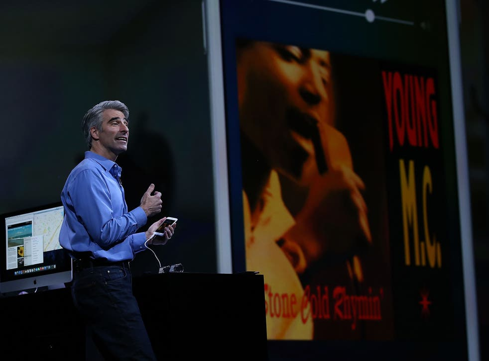 Apple Craig Federighi, Apple senior vice president of Software Engineering, speaks about iOS 9 during Apple WWDC on June 8, 2015 in San Francisco, California